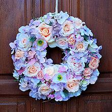 Dekorácie - Veniec na dvere celoročný pastelový - 10804644_