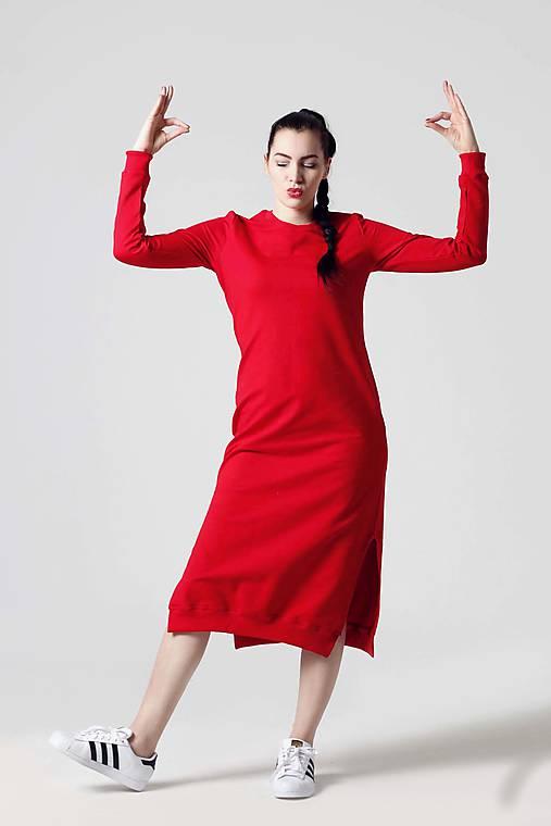 Šaty - Teplákové šaty červené - 10804057_