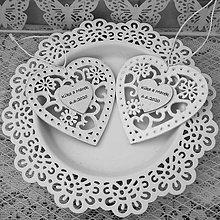 Darčeky pre svadobčanov - Srdiečko vyrezávané - 10804352_