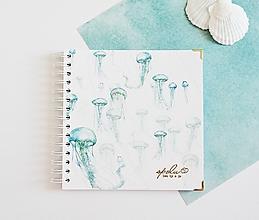 Papiernictvo - Svadobná kniha hostí/album - medúzy 20x20 - 10803136_