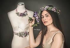 Opasky - Kvetinový  fialkový opasok LÚKA - 10805775_