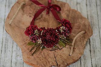 Náhrdelníky - Romantický kvetinový náhrdelník - bordový - 10805809_