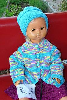Detské súpravy - Ručne pletená súprava svetrík s čiapkou - 10805982_
