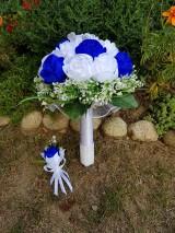 Kytice pre nevestu - Svadobná kytica s umelými kvetmi (kráľovská modrá) - 10805684_
