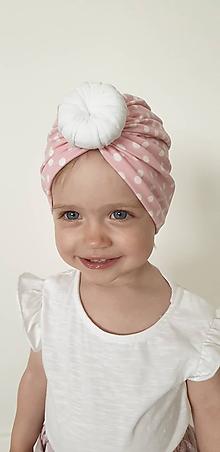 Detské čiapky - Turban ružové bodky - 10805384_