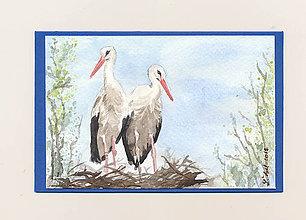 Papiernictvo - Ručne maľovaná pohladnica - Bociany 2 - 10805111_