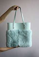 Veľké tašky - Koženo-kožušinová SHOPPER kabelka- MENTOLOVÁ - 10805717_