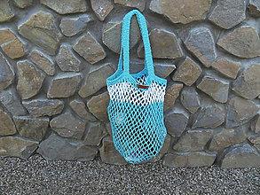 Nákupné tašky - Háčkovaná bavlnená sieťovka - veľká - 10803686_
