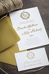 """Papiernictvo - Svadobné oznámenie """"v zlatom tóne"""" ❤ - 10805328_"""