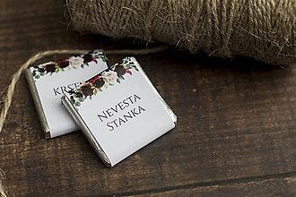 """Darčeky pre svadobčanov - Čokoládka """"Burgundy"""" ako menovka - 10805442_"""
