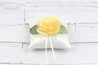 Prstene - Vankúšik na obrúčky krémová ruža - 10804087_