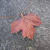 Náhrdelníky - Pokovený list javoru na obruči - 10805954_