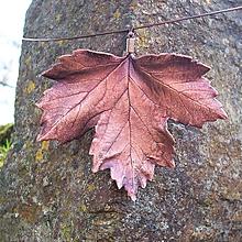 Náhrdelníky - Pokovený list javoru na obruči - 10805953_