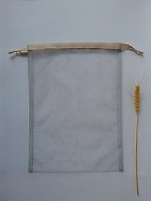 Úžitkový textil - Transparentné vrecúška so stužkou (Sivé vrecúško s krémovou stužkou) - 10804518_