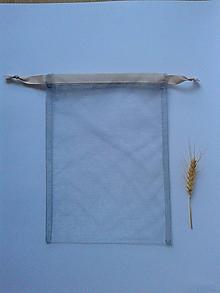 Úžitkový textil - Transparentné vrecúška so stužkou (Sivé vrecúško s krémovou tužkou) - 10804519_