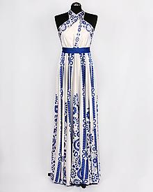 Šaty - SLÁVICA - potlač FOLKLÓRNE VYŠÍVANCE (modrá na bielej) - 10804703_