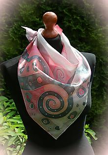 Šatky - Maľovaná ružovo-šedá... - 10805303_