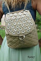 Kabelky - Dual bags_Latte flowers - 10805495_
