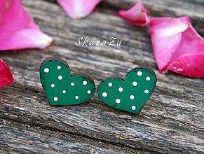Náušnice - Heart dots mini // Green - 10805880_