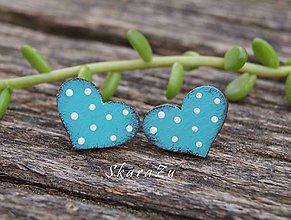 Náušnice - Heart dots mini // Tyrkys - 10805892_
