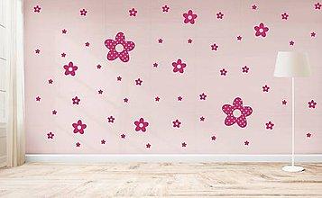 Dekorácie - Nálepky na stenu - Bodkované kvety (Šedá) - 10803691_