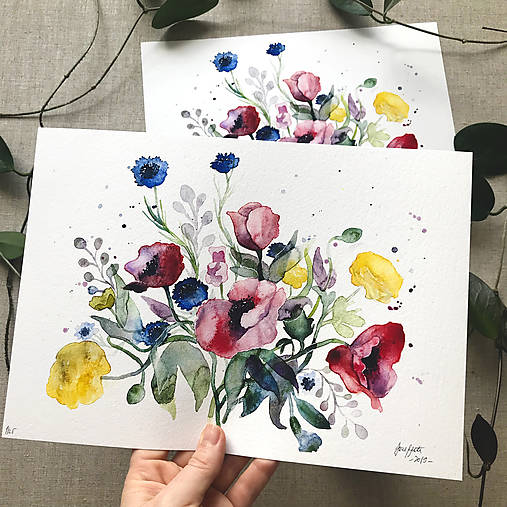 Obrazy - Maky a poľné kvety, (ART PRINT) akvarel - 10804148_