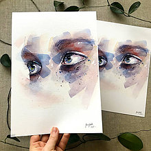 Obrazy - Oči - štúdia, akvarel výtlačok (print) - 10804474_