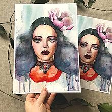 Obrazy - Dáma s magnóliou, (ART PRINT) akvarel - 10804479_
