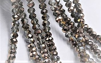 Korálky - Brusene sklenena Rondelka  4mm  (Meď/Bronz) - 10806235_