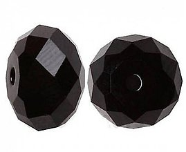Korálky - Rondelka sklenena brusena 8mm (Čierna) - 10806859_