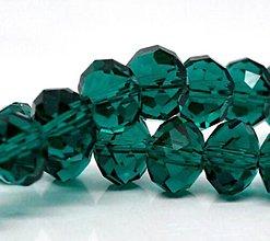 Korálky - Rondelka sklenena brusena 8mm (Zelená) - 10806866_