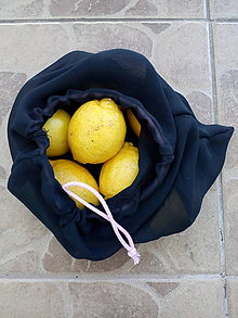 Úžitkový textil - Vrecúško na zeleninu a ovocie čierne - 10807557_