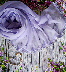 Šály - Jemné chvění - fialkový svadobny šál - 10806252_