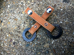 Iný materiál - Kožené úchytky s krúžkom, úzke - 10807979_