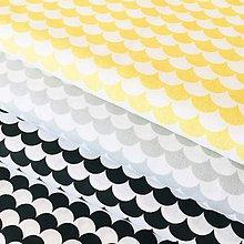 Textil - čierno-biele vlnky, 100 % bavlna Francúzsko, šírka 150 cm - 10807581_