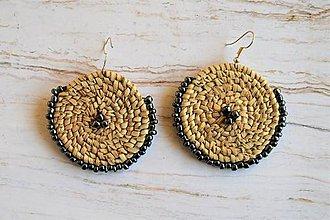 Náušnice - Egyptské pletené náušnice (strieborná / sivá) - 10806833_