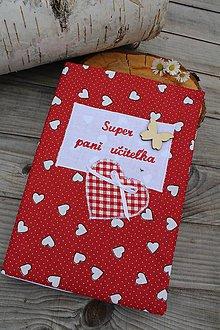 Papiernictvo - Zápisník pre p.učiteľku-textilný (Červená) - 10806167_