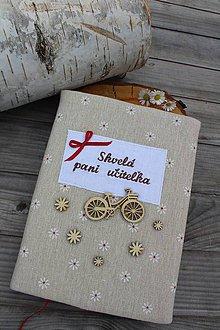Papiernictvo - Zápisník pre p.učiteľku-textilný (Hnedá) - 10806169_