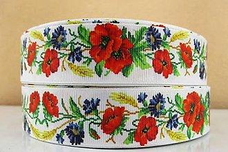Galantéria - SR104 Stuha ripsová kvetinový motív 2,5 cm / 10 cm - 10807912_