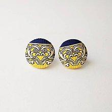Náušnice - Náušnice žlto-modré ornamentové - 10806429_