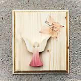 Dekorácie - Drevený Obraz Anjel s Motýľom - 10806092_