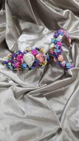 Ozdoby do vlasov - Svadobný kvetinový set, nevesta a družička - 10807984_
