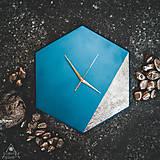 Hodiny - Hexagon Blue - Dekoračné hodiny - 10808450_