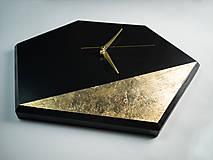 Hodiny - Hexagon Black - Dekoračné hodiny - 10808477_