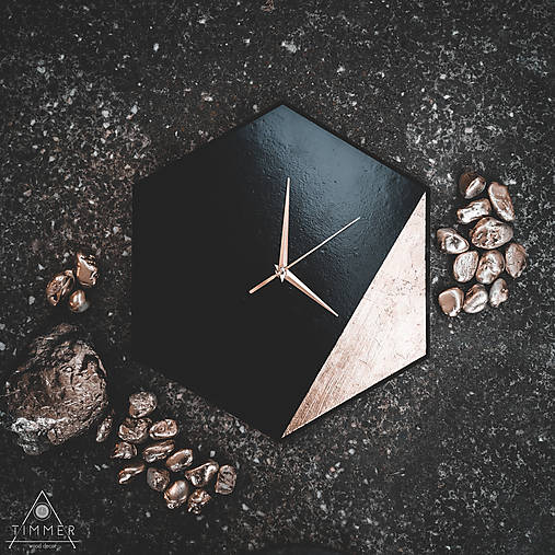 Hexagon Black - Dekoračné hodiny