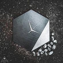 Hodiny - Dekoračné hodiny - Hexagon Silver - 10808458_
