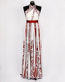 Šaty - SLÁVICA - potlač FOLKLÓRNE VYŠÍVANCE (červená na bielej) - 10807208_