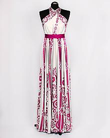 Šaty - SLÁVICA - potlač FOLKLÓRNE VYŠÍVANCE (ružová na bielej) - 10807212_