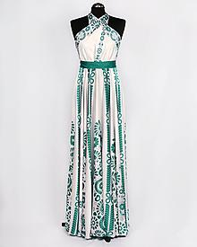 Šaty - SLÁVICA - potlač FOLKLÓRNE VYŠÍVANCE (smaragdová na bielej) - 10807218_