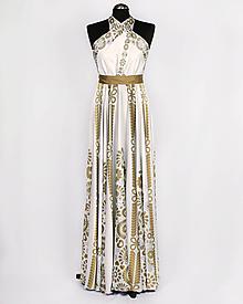 Šaty - SLÁVICA - potlač FOLKLÓRNE VYŠÍVANCE (zlatá na bielej) - 10807221_
